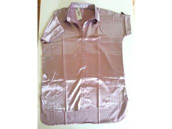 Skimrande rosa skjorta / skjortklänning / klänning i satin från Rare London - Svalöv - Skimrande rosa skjorta / skjortklänning / klänning i satin från Rare London - Svalöv
