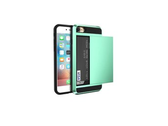 iPhone 8 plus - Slide - Skal med kortfack  - Mint green
