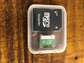 Minneskort Micro SD Card 512 GB, class 10 helt ny!