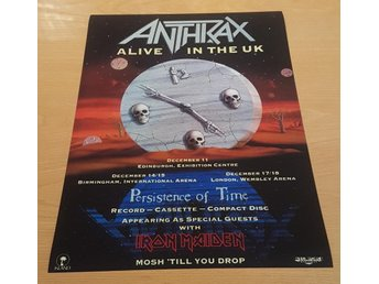 ANTHRAX ALIVE IN TKE U.K 1990 POSTER