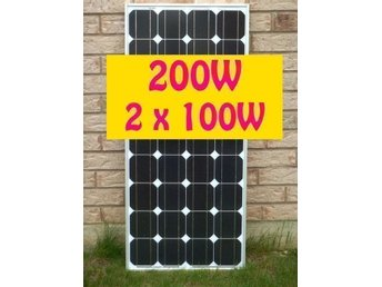 200W Solpanel Solcell Solfångare 2x100W *NY A Grade Monocrystalline