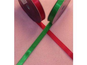 9 meter grönt och 9 meter rött dubbelsidigt satinband bredd 9 mm - Strömsnäsbruk - 9 meter grönt och 9 meter rött dubbelsidigt satinband bredd 9 mm - Strömsnäsbruk