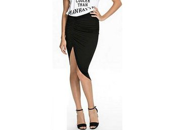 NLY Trend Draped High-Low Skirt Nelly Svart