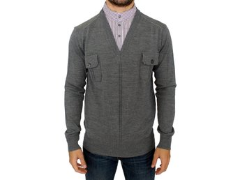 Karl Lagerfeld - Gray v-neck pullover sweater