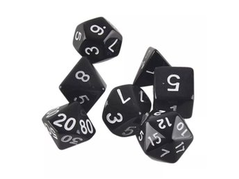 7-pack tärningar till Dungeons and Dragons (Svart)