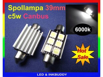 Spollampa 39mm Canbus Led 6st 5050SMD 6000K 2-pack C5W SV8.5  34:-