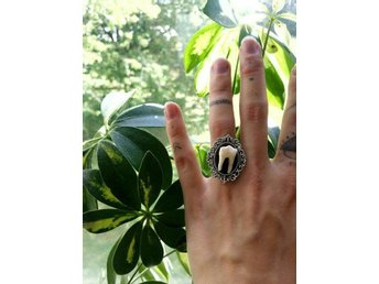 Deer tooth statement ring