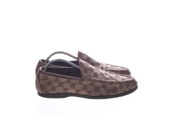Gucci, Loafers, Strl: 41, GG Monogram Canvas Loafers, Beige, Skinn