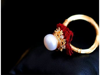 Gorgeous Genuine Natural Pearl Ring In 14K Yellow Gold Plated MR0002
