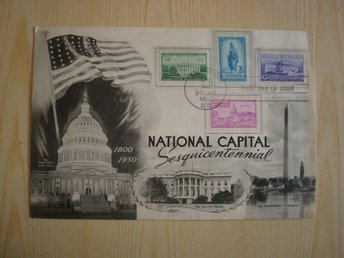 National Capital Washington Sesquicentennial 1950 USA förstadagsbrev
