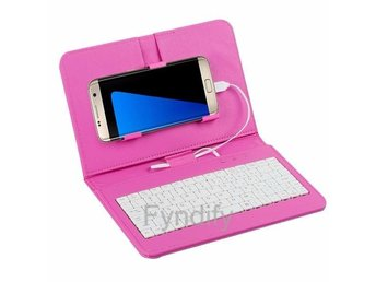 Tangentbord & Skydd Smartphone Android Rosa