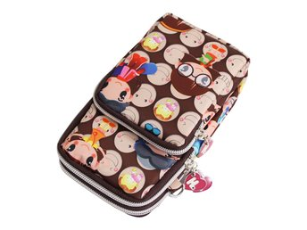 Womens Girls Nylon Multifunction 3 Layers Bag Small Cross Body Shoulder Wristlet