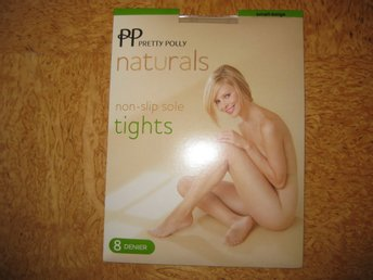 FYND 1 par Pretty Polly Naturals Tight Non Slip sole Stlk S, färg Tan 8 denier