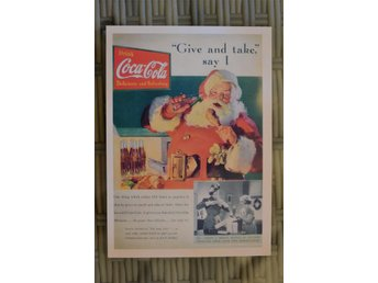 "Coca Cola Tomten ""Give and Take"" 5 Cent (Vykort) 10*14cm Reklam Äldre Ny - Vännäs - Coca Cola Tomten ""Give and Take"" 5 Cent (Vykort) 10*14cm Reklam Äldre Ny - Vännäs"