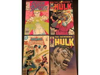 Marvel DC serietidningar Hulk 352, 354 silver surfer 21 batman outsiders