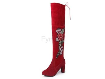 Dam Boots Thick High Heel Female Concise Footwear Red 39