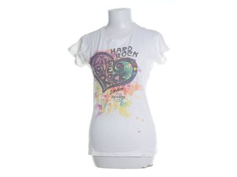 Hard Rock Cafe, T-shirt, Strl: M, Juniors Fit, Vit/Flerfärgad