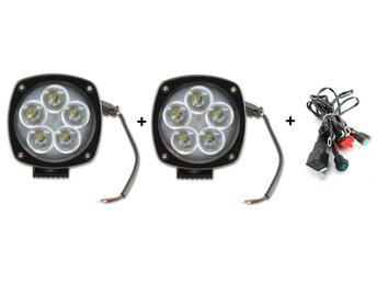 2x50W LED extra ljus, Flood beam, 5års garanti.