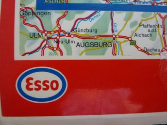 ESSO karta över DDR printed in Germany 1984/85 Tysk karta maps of Germany