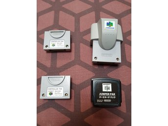 N64 Tillbehör - Controller Pack - Rumble Pack - Jumper Pak - Original