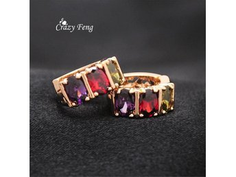 Colorful Crystal Earrings Jewelry Round Zirconia Design Earrings 18k plated