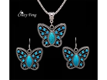 Oval Turquoise Crystal Butterfly Pendant Necklace Earrings Jewelry Set