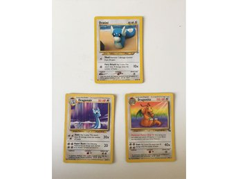 Pokemonkort, dratini, dragonair och dragonite