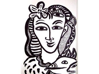 """Javascript är inaktiverat. - Hedehusene - Danmark - Ulrica Hydman Vallien litografiet """"Kvinnan"""" bladmål 45 x 34 - originalt signeret Ulrica H V og nummereret 95/380 i bly. Hun er en af Sveriges mest kendte kunstnere og har opnået stor international anerkendelse. Hun er mest ken - Hedehusene - Danmark"""
