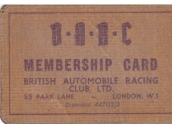 British Automobile Racing Club. Medlemskort 1952.