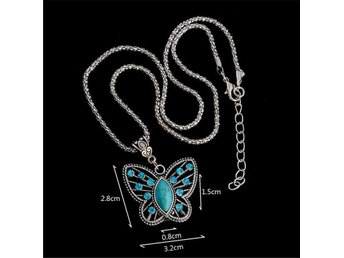 Antique Silver Pendant Necklace Crystal Butterfly Turquoise Long Necklace Sweate