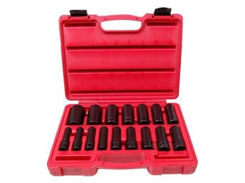 "16Piece 1/2"" Inch Drive Single Hex Deep Impact Socket Set Xi-on air tools"