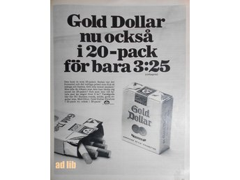 GOLD DOLLAR MED FILTER I 20-PACK TIDNINGSANNONS Retro 1969