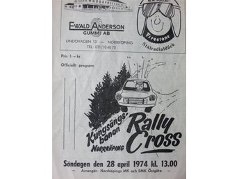 Program: Rallycross Norrköping Kungsängsbanan 28/4 1974 med sv eliten