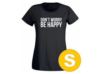 T-shirt Don't Worry Be Happy Svart Dam tshirt S
