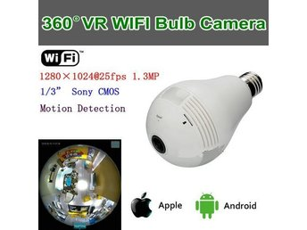WIFI VR-lampkamera, 360 graders kamera, 1/3 Sony 1,3 MP CMOS, P2P / IP / WIFI