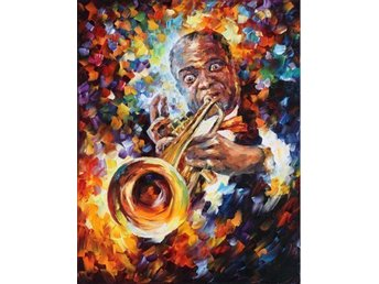Louis Armstrong Trumpet Abstract Oil on Canvas Olja på Duk 55 x 71 Last One!