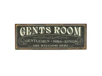 Gammaldags shabby chic skylt WC toalett Gents Room