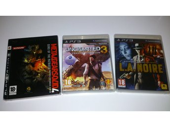 - 3-Pack Action L.A. Noire Uncharted 3 Metal Gear Solid IV #REA!# PS3 -