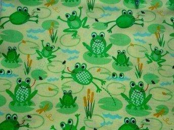 tyg; grodor till lapptäcke, kudde... 45 x 110 cm - Hässelby - tyg; grodor till lapptäcke, kudde... 45 x 110 cm - Hässelby