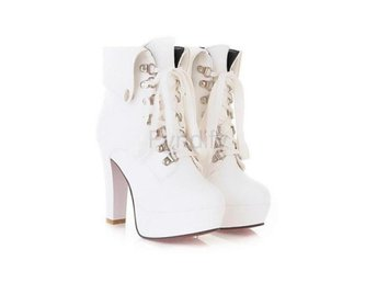 Dam Boots Lace Up Short Booties Woman Shoes White 39