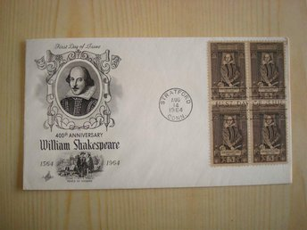 400th Anniversary William Shakespeare 1564-1964 USA förstadagsbrev 4 frimärken