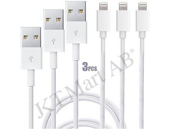 3-pack USB-Kabel till iPhone  5/5s/6/6s/6s+/6+/7/7+ lightning vit