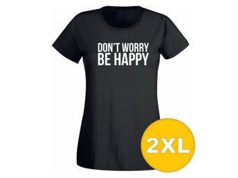 T-shirt Don't Worry Be Happy Svart Dam tshirt XXL