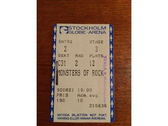 MONSTERS OF ROCK konsertbiljett 1990 - Whitesnake -Poison - The Quire Boys