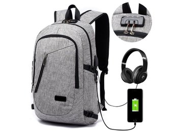 """Anti-stöld USB-laddning Ryggsäck Anti theft, Laptop PC Väska Strlk 20"""" - China - Features:1. Dimension of laptop backpack: 20*12*5.7inch/50*30*14.5cm. Fits for tablet and up to 15.6inch laptop and notebook.2. 3 in 1 design: Anti-theft lock USB charging port headphone port3. Large capacity and multi-pockets: more than 10 indepe - China"""