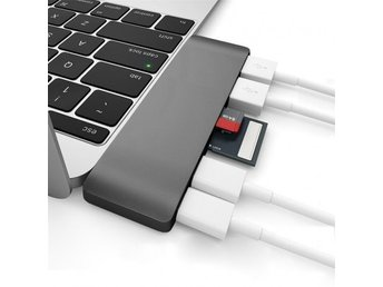 6 in1 USB-C Thunderbolt 3 Hub Adapter Dual USB 3.0 Multi Ports MacBook Pro Grå