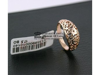 New arrival 18K gold plated hollow out retro totem flower jewelry rings