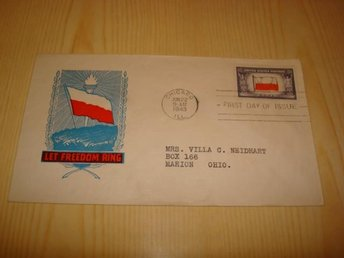 WWII Overrun Country Polen Poland Let Freedom Ring 1943 USA förstadagsbrev FDC