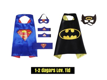 2-PACK Superman & Batman set, cape + mask, pj, maskerad