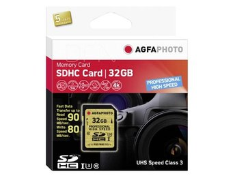 AgfaPhoto SDHC Kort  UHS I  32GB Professional High Speed U3 90/80